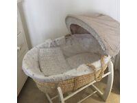 Mamas & Papas Millie & Boris Moses Basket & Ivory Rocking Stand. Excellent condition.