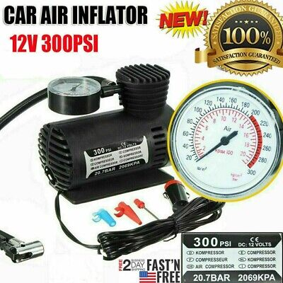 Car Electric Air Pump 300PSI Air Compressor Portable Tire Inflator For Car Bike