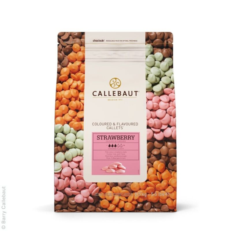 CALLEBAUT STRAWBERRY CALLETS 5.5 LB FINEST BELGIAN CHOCOLATEONLY SELLER in US!