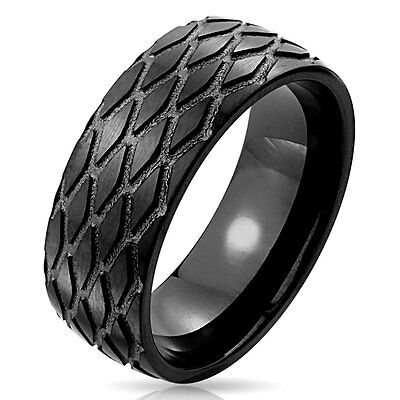 - Tire Tread Pattern Black IP Stainless Steel Ring Size 9-13