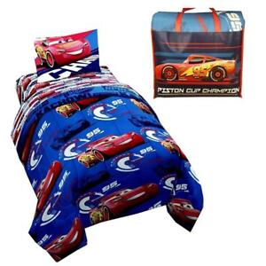 Disney Cars 4-Piece Kids Twin Bed in a Bag Bedding Sets with Bonus Tote