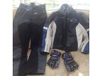 Ladies Leather Biker Jacket size 10-12 Black Blue & White plus Leather Trousers size 10-12