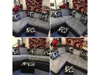 Brand New Grey & Black Corner Sofa