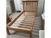Solid Pine Julian Bowen 3 Foot Single Bed Frame With a Low Foot End in good condition