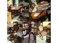 Brown table with 6 chairs