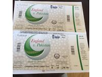 CRICKET - ENGLAND vs PAKISTAN - 2 tickets - Lords - Sat 27 Aug 2016