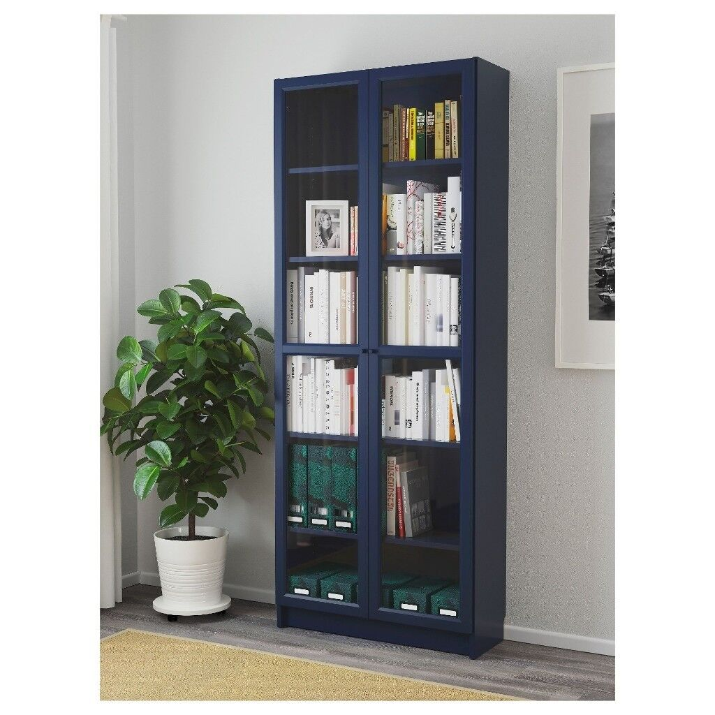 Two Billy Bookcases With Glass Doors Dark Blue In Oxford Oxfordshire Gumtree