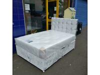 BRAND NEW crushed velvet king bed diamte head board orthapedic matress/memory foam double sided£289