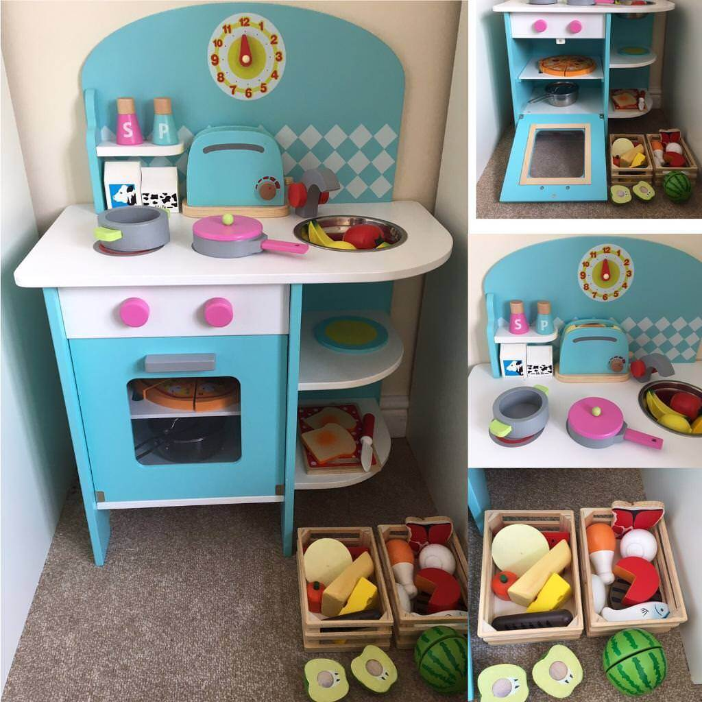 Children\'s kitchen with wooden food shopping trolley | in Heywood ...