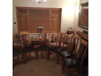 six Oak and Walnut dining room Chairs