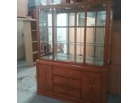 Wood and glass display cabinet