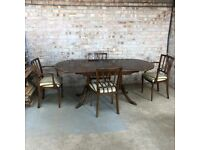 Vintage Mahogany Extending Dining Table with Claw Feet 4 Matching Chairs