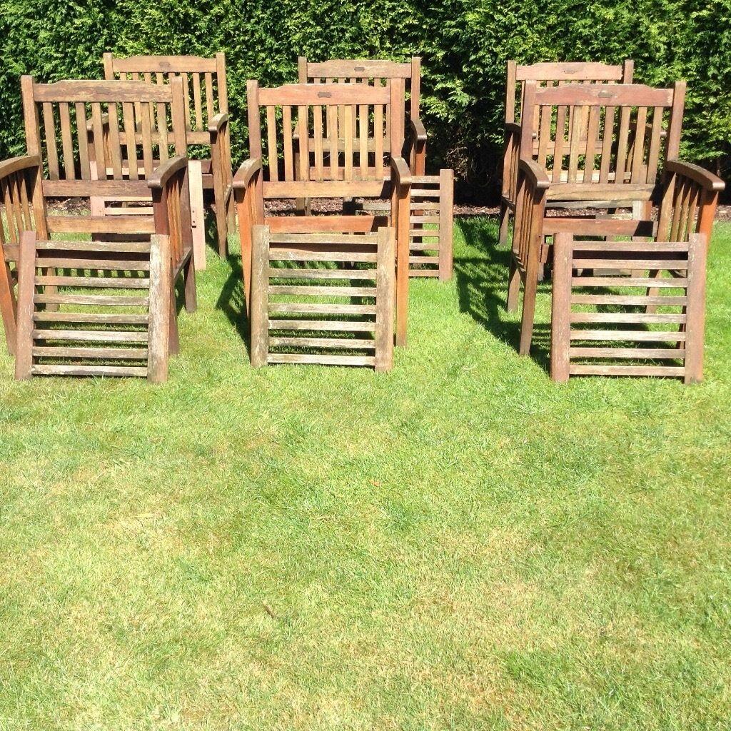 721b15741 Heavy wood (teak) garden table   6 chairs + matching chair cushions    tablecloth.