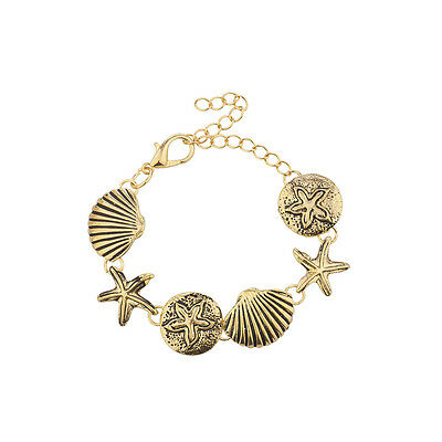 Lux Accessories Burnished Gold Tone Nautical Seashell Starfish Charm Bracelet
