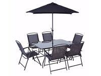 Patio Set 8 pcs - table + chairs + parasol