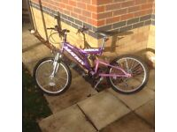 "Girls bicycle, purple and pink. 20"" wheels."