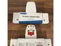 80 x Joblot NEW 3 WAY FUSED PLUG MULTI SOCKET EXTENSION WALL ADAPTOR ADAPTER 3 GANG NT WHITE