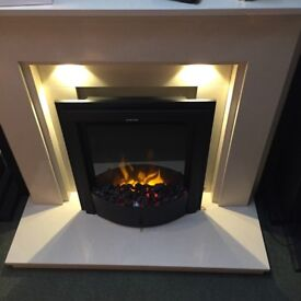 BRAND NEW CREAM MARBLE FULL FIREPLACE SUITE WITH DOWN LIGHTS