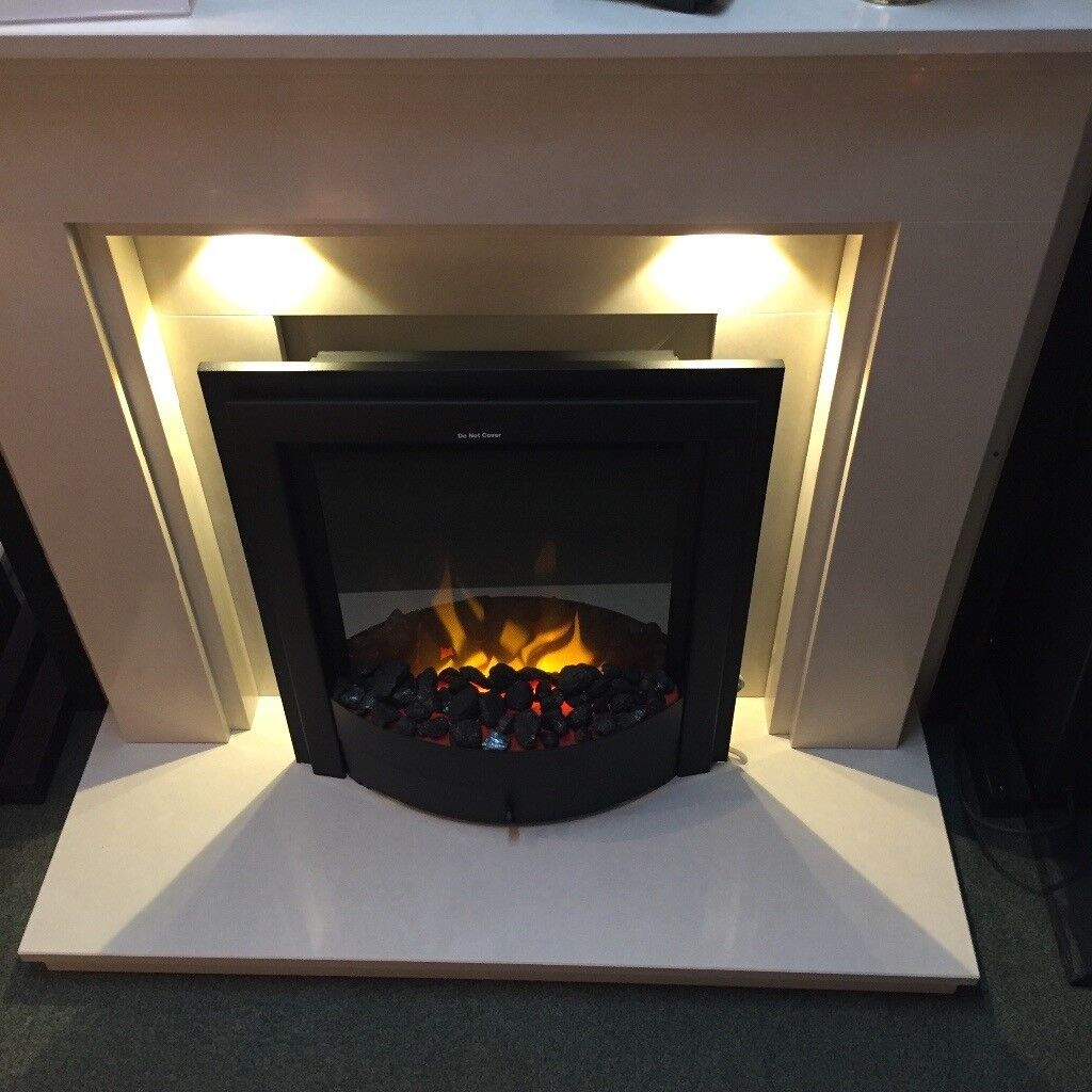 BRAND NEW CREAM MARBLE FULL FIREPLACE SUITE WITH
