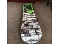 159 GNU carbon credit series board with Ride Spi bindings