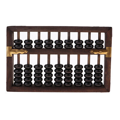Black Vintage 9 Digit Wooden Bead Arithmetic Abacus Chinese Calculator