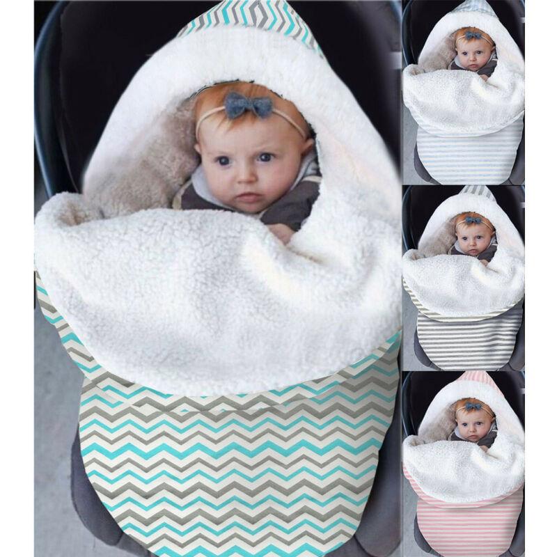 Newborn Baby Boy Girl Warm Fleece Swaddle Sack Blanket Wrap