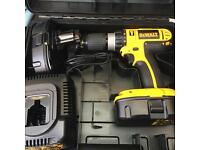 DeWalt DC725 18v Cordless Combi Hammer Drill 2x 1.3ahBatteries, Charger and Case