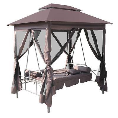 Patio Outdoor Gazebo Swing Canopy Hammock Seat Sunbed Sofa Curtains Coffee Brown
