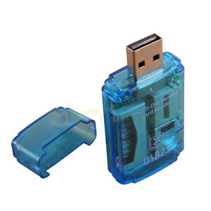 Blue New USB 2.0 ALL in One Memory Card Reader for Micro SD/MMC/SDHC/TF/M2/MS