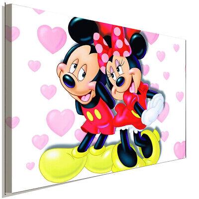 Micky Minnie Maus verliebt Leinwandbild AK ART Kunstdruck Wandbild Wanddeko XXL ()