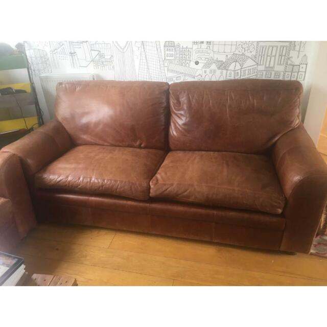 Enjoyable Two Brown Leather Sofas One Is Sofa Bed In Camden London Gumtree Gmtry Best Dining Table And Chair Ideas Images Gmtryco