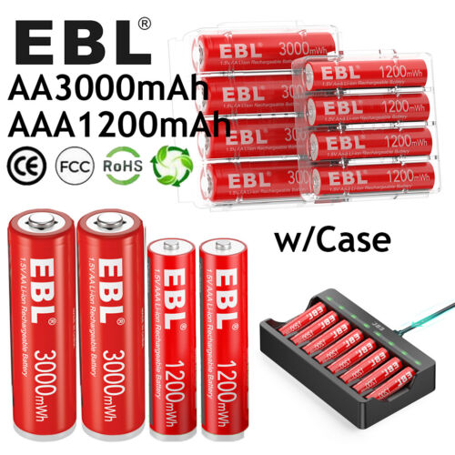 Lot 1.5V AA AAA Rechargeable Lithium Battery Batteries Upgrade / Smart Charger