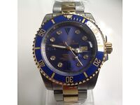 Rolex mariner – bimetal – blue face – diamond dial