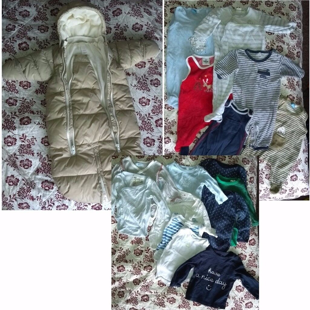 Baby bundle 17-items including pramsuit - good condition