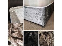 Elasticated Bed Valance Divan Base cover Bed wrap CRUSHED VELVET