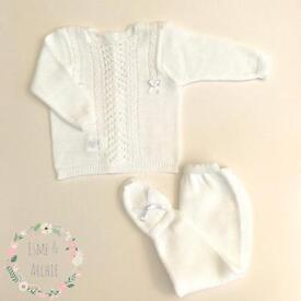 Spanish baby white knitted outfit 3 months