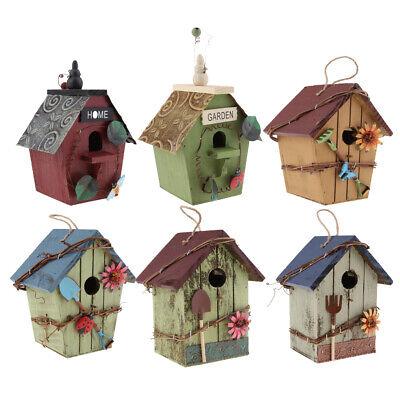6xHANGING WOODEN BIRD HOUSES PASTORAL COURTYARD RUSTIC DECORATIVE BIRD HOUSE