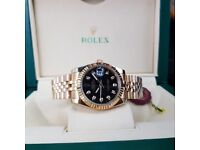 New Gold Black Rolex DateJust with diamond time stones comes Rolex Boxed with Paperwork