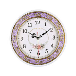 11inch Super Mute Clock Non Ticking Quartz Wall Clock Home Decor Purple