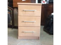 Bed side unit with 3 drawers