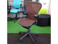 Herman Miller Aeron Chair Size B with Red Burgundy Mesh