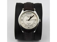 Tissot T-one Automatic Day Date White Face See Through Back Brown Leather Strap