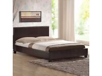 BRAND NEW- Single Leather Bed w/ Dual-Sided Deep Quilted Mattress -