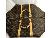 Roomy louis Vuitton 55 Lv damier logo on brown backdrop genuine designer