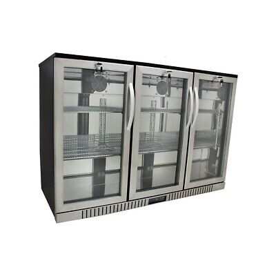 54 Wide 3-door Stainless Steel Back Bar Beverage Cooler - Counter Height