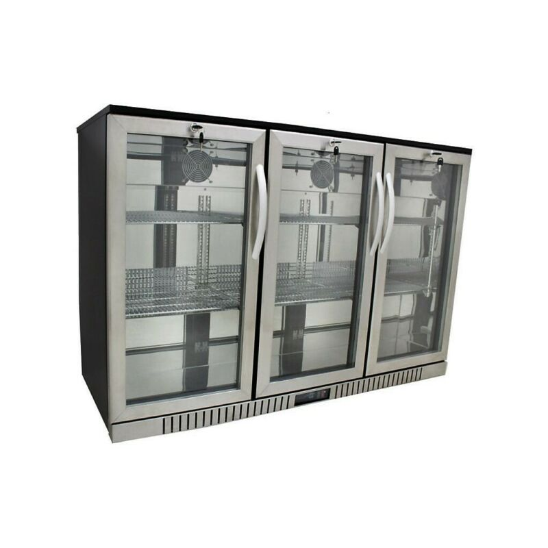 "54"" Wide 3-door Stainless Steel Back Bar Beverage Cooler - Counter Height"