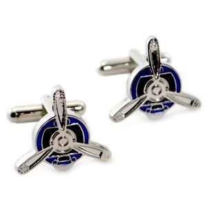 PROPELLER CUFFLINKS Blue & Silver Metallic NEW w GIFT BAG Pair Men's Accessory