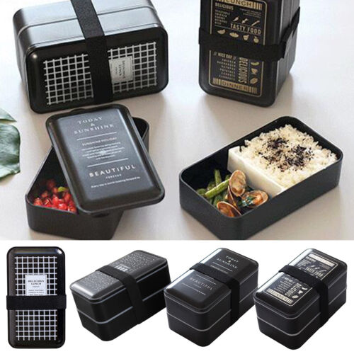 Nordic Style Lunch Box Bento Black 2-Layer Leakproof Plastic