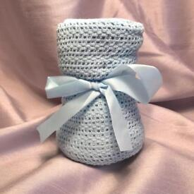 Brand new cotton baby blanket blue or pink