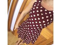 Burgundy dress with hearts UK size 10